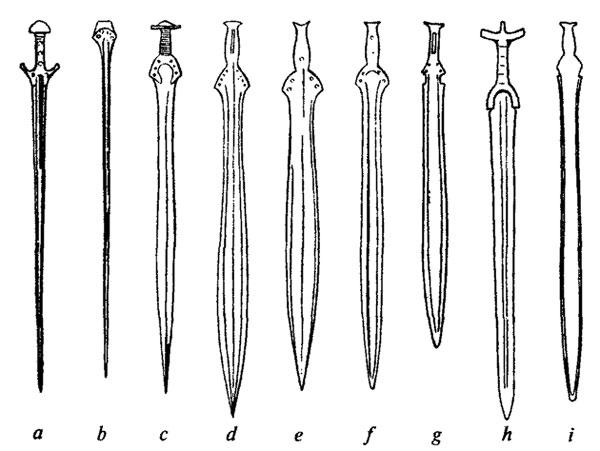 Мечи бронзового века и места